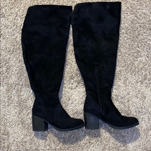 Knee High Wide Calf Faux Suede Boots